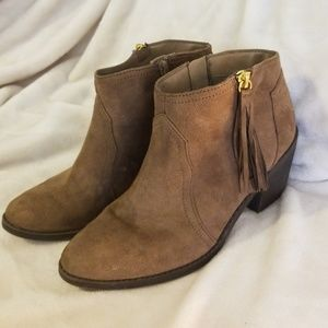 Brown Suede Heeled Booties